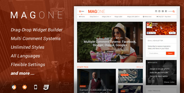 MagOne - Unique Responsive Magazine Blogger Template