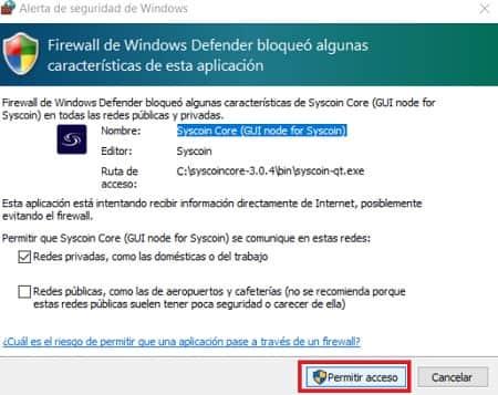 Firewall Seguridad Criptomoneda Syscoin (SYS)