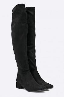 Cizme negre peste genunchi din piele eco intoarsa de femei, fara toc pentru iarna - Tamaris