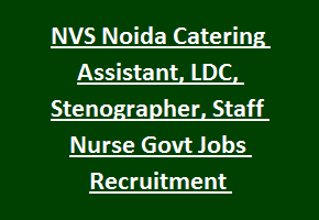 NVS Noida Catering Assistant, LDC, Stenographer, Staff Nurse Govt Jobs Recruitment Notification 2017