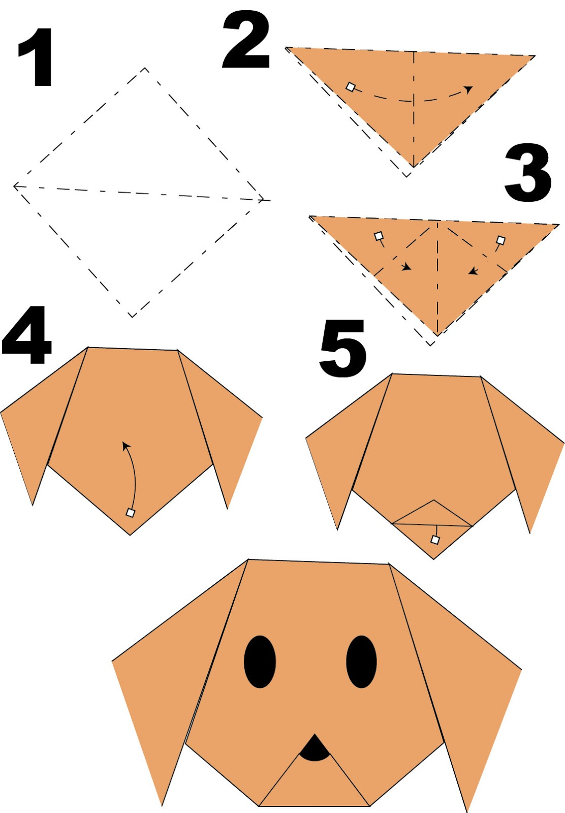 How to make puppy paper crafts for your kids - step by step