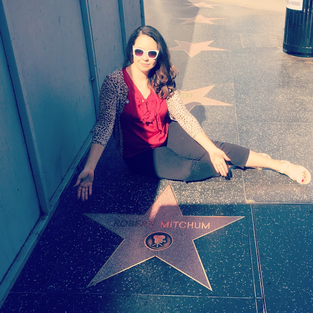 Raquel Stecher with Robert Mitchum's Star on the Hollywood Walk of Fame