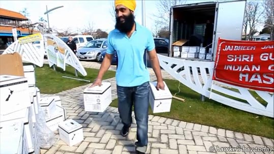The New Zealand Sikh Society Hastings has donated free drinking water to the people of Havelock North after the council water supply was contaminated. photograph