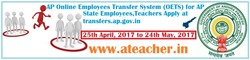 AP Online Employees Transfer System (OETS) for AP State Employees,Teachers Apply at www.transfers.ap.gov.in