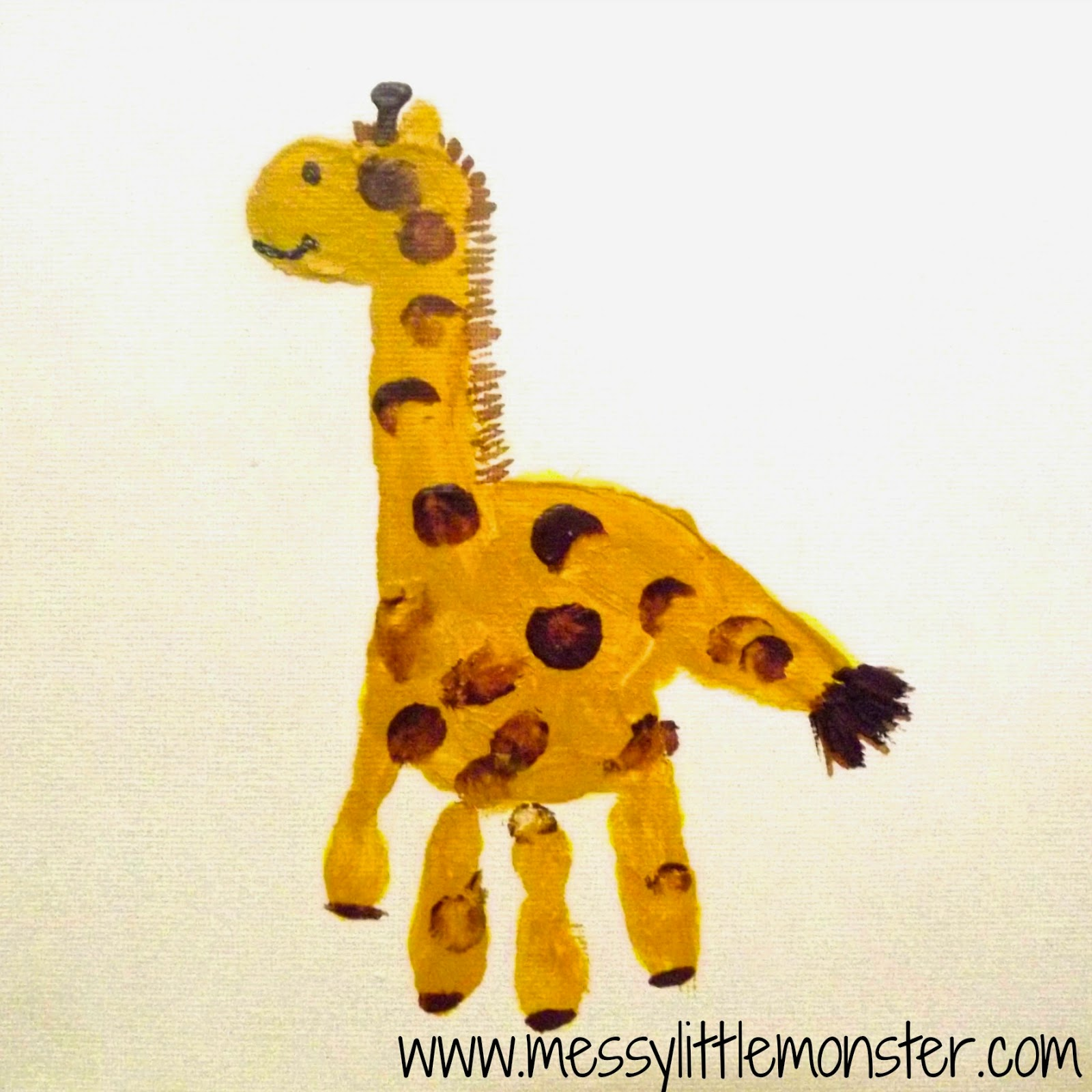 Giraffe craft - Animal handprints on canvas.  Simple gift ideas for toddlers and preschoolers to make.