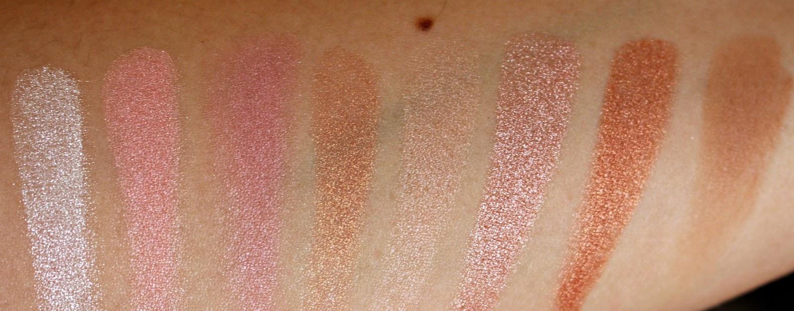 MakeUp Revolution ultra blush palette Golden Sugar swatches