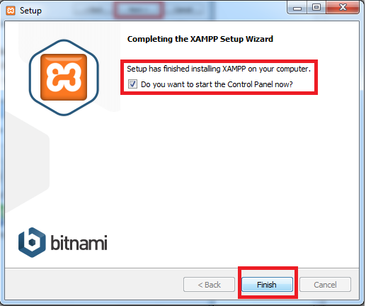 completing the xampp