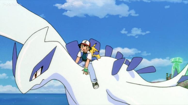 Ash voando em Lugia Filme 02