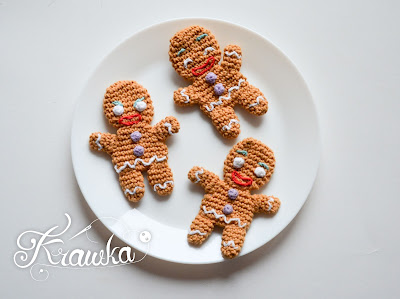 Krawka: Gingy the Gingerbread man cookie Christmas free pattern by Krawka