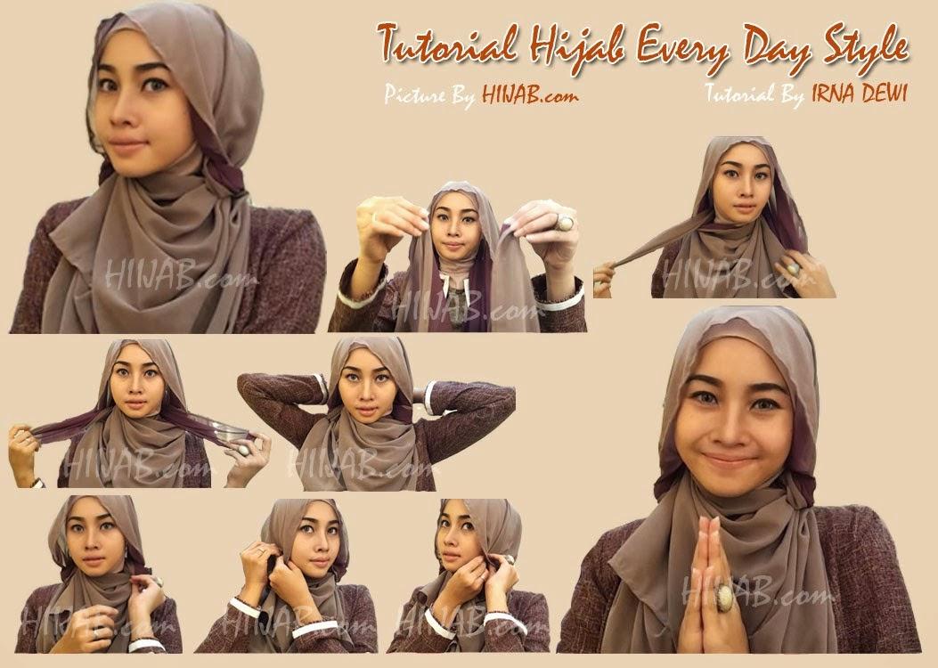 30 Gambarnya Tutorial Hijab Buat Wajah Bulat Paling Dicari