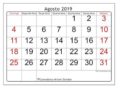 Calendário agosto/2019