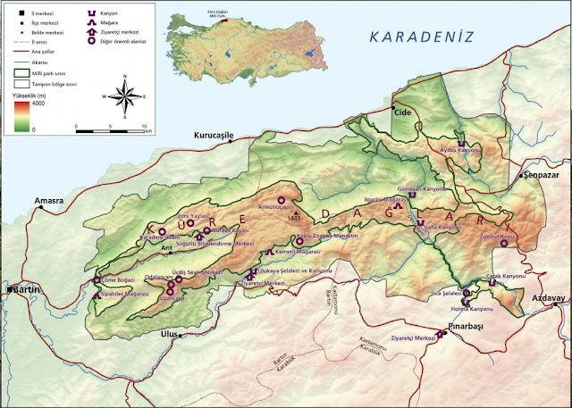Küre Dağları Haritası