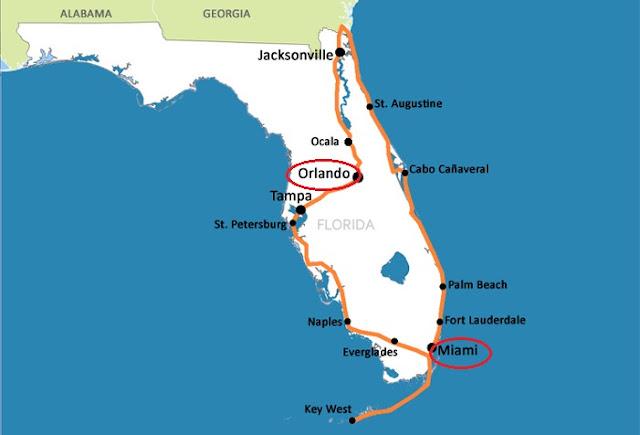 Mapa da distância entre Miami e Orlando