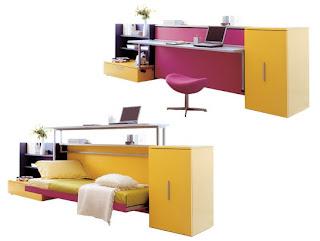 cama con escritorio que sube hacia arriba