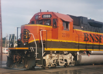 BNSF GP38-2 #2099 in Vancouver, Washingon, on July 13, 1997