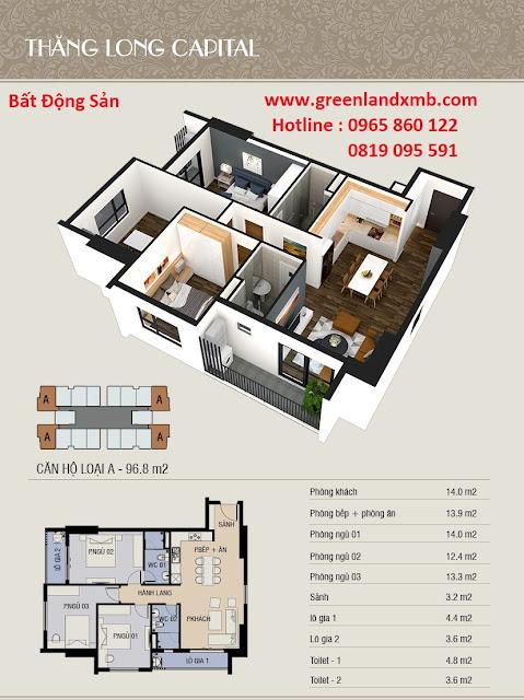 Mặt bằng 3D căn hộ 96,8m2 - căn 3 phòng ngủ và diện tích.