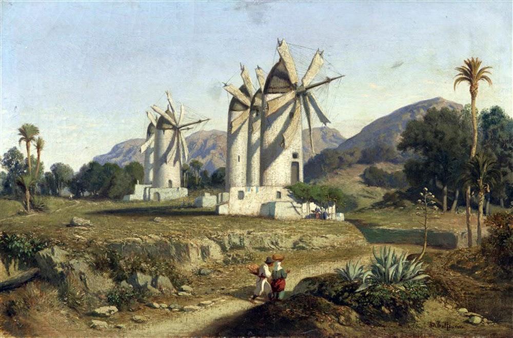 Adolphe-Paul-Emile Balfourier, Molinos de viento en Mallorca, Mallorca en Pintura, Cala San Vicente, Mallorca en Pintura, Paintirng of Cadaqués, Mallorca pintada, Paisajes de Mallorca, Mallorca en Pintura