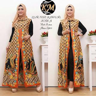 Busana Baju Batik Muslim Terbaru Long Vest Motif Kawung warna Orange