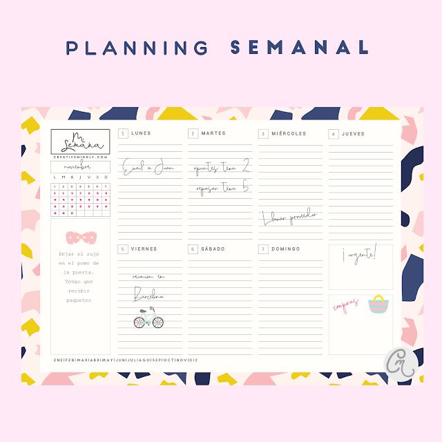 planificador mensual semanal