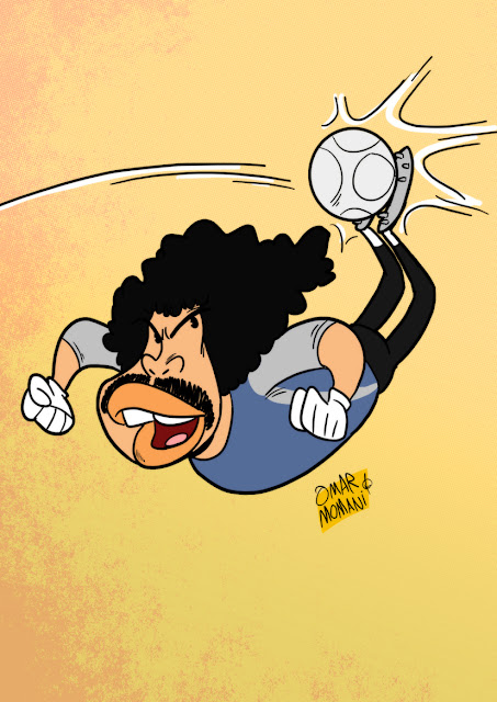 Rene Higuita cartoon caricature