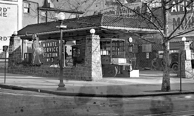 """a 1925 """"Minute service station"""" photograph"""
