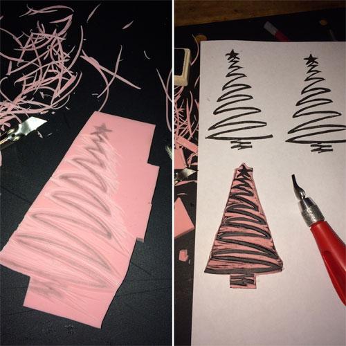kerstboom gutsen uit stempelrubber
