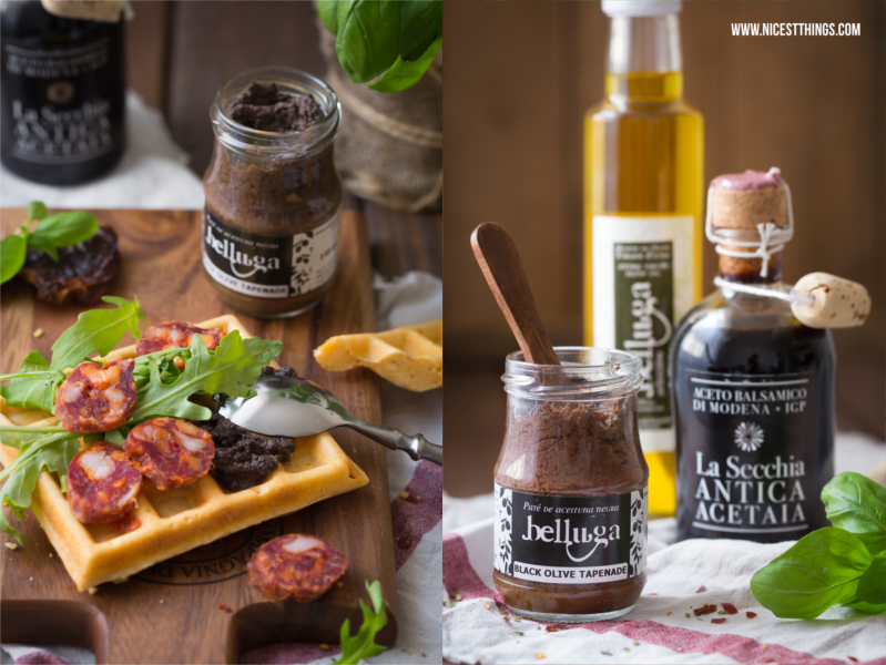 Herzhafte Waffeln Rezept für Waffel Sandwiches mit Salami und Tapenade