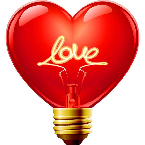 Love light bulb icon