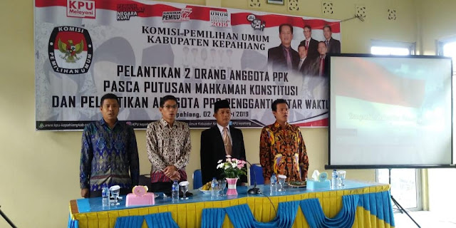 Rabu (2/1/2019) Komisi Pemilihan Umum (KPU) Kabupaten Kepahiang melantik 16 anggota Panitia Pemilihan Kecamatan (PPK) penambahan tersebut untuk Pileg dan Pilpres 2019