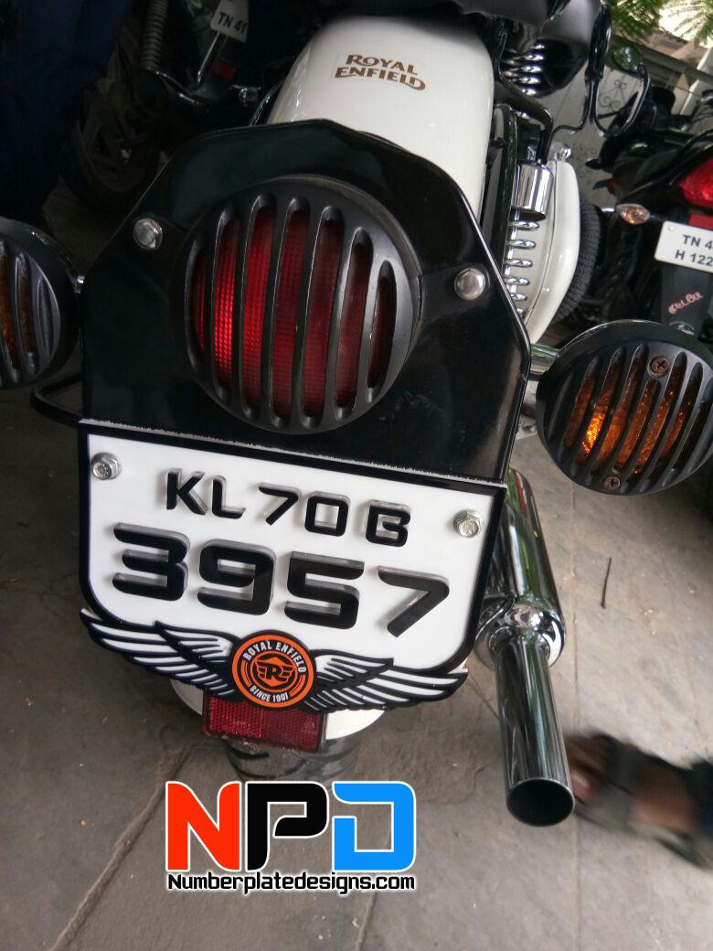 Royal Enfield Bullet Number Plates Design Car