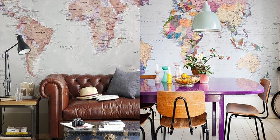 ambientes decorados com mapas 1 - A elegância dos Mapas na decoração de Ambientes