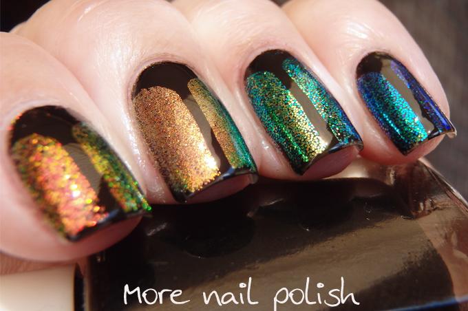 Digital Dozen does Black - Iridescent glitter beetles ~ More Nail Polish