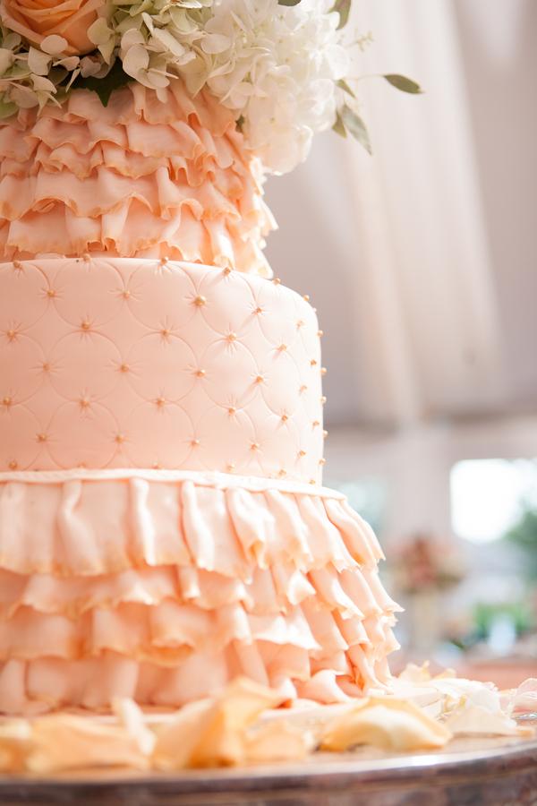 peach+orange+salmon+pink+pastel+shabby+chic+summer+spring+tea+garden+party+victorian+rebel+with+a+camera+wedding+bride+groom+centerpeice+cake+ruffle+ruffles+17 - Detail Spotlight: Peach & Gold