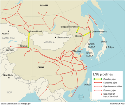 Russia China Pipeline Map