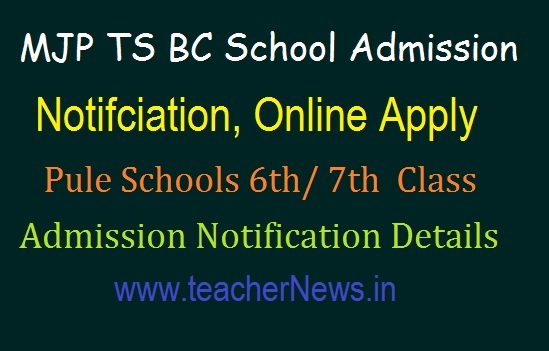 MJP TS BC Schools 6th, 7th class Online Apply 2019 | Pule Schools 6th Admission Notification