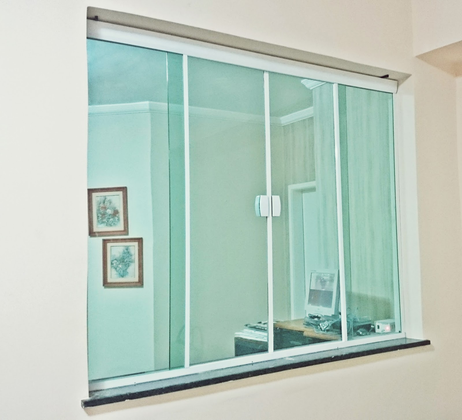 #4B806F Inova Vidros: Janela Vidro Verde Temperado M2000 266 Janelas De Vidro Quatro Folhas