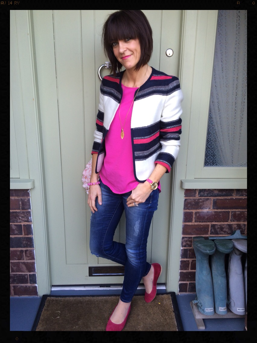 My Midlife Fashion, Zara, British Flat Shoe Company, stripes, hot pink, skinny jeans, Olivia Burton