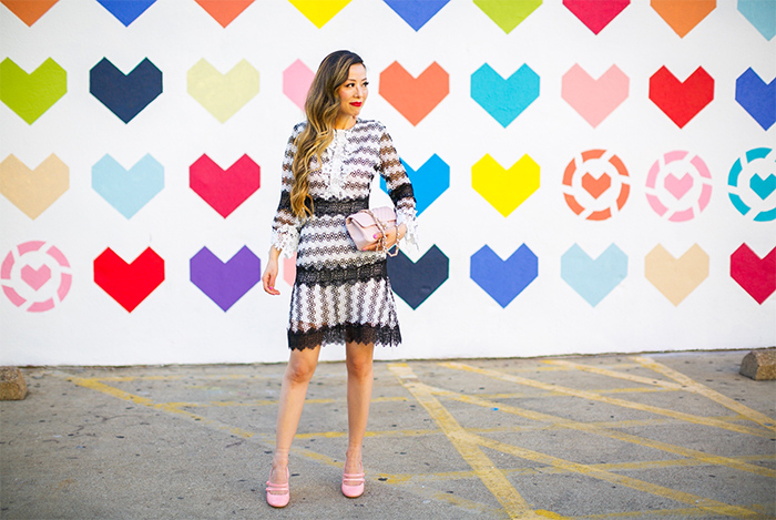 Chicwish Contrast Devotion Crochet Dress, black and white lace dress, modcloth block heels, pink block heels, chanel classic flap bag, baublebar drop earrings, style style, san francisco fashion blog, dallas standard pour hearts wall, dallas hearts wall, dallas street style, san francisco fashion blog