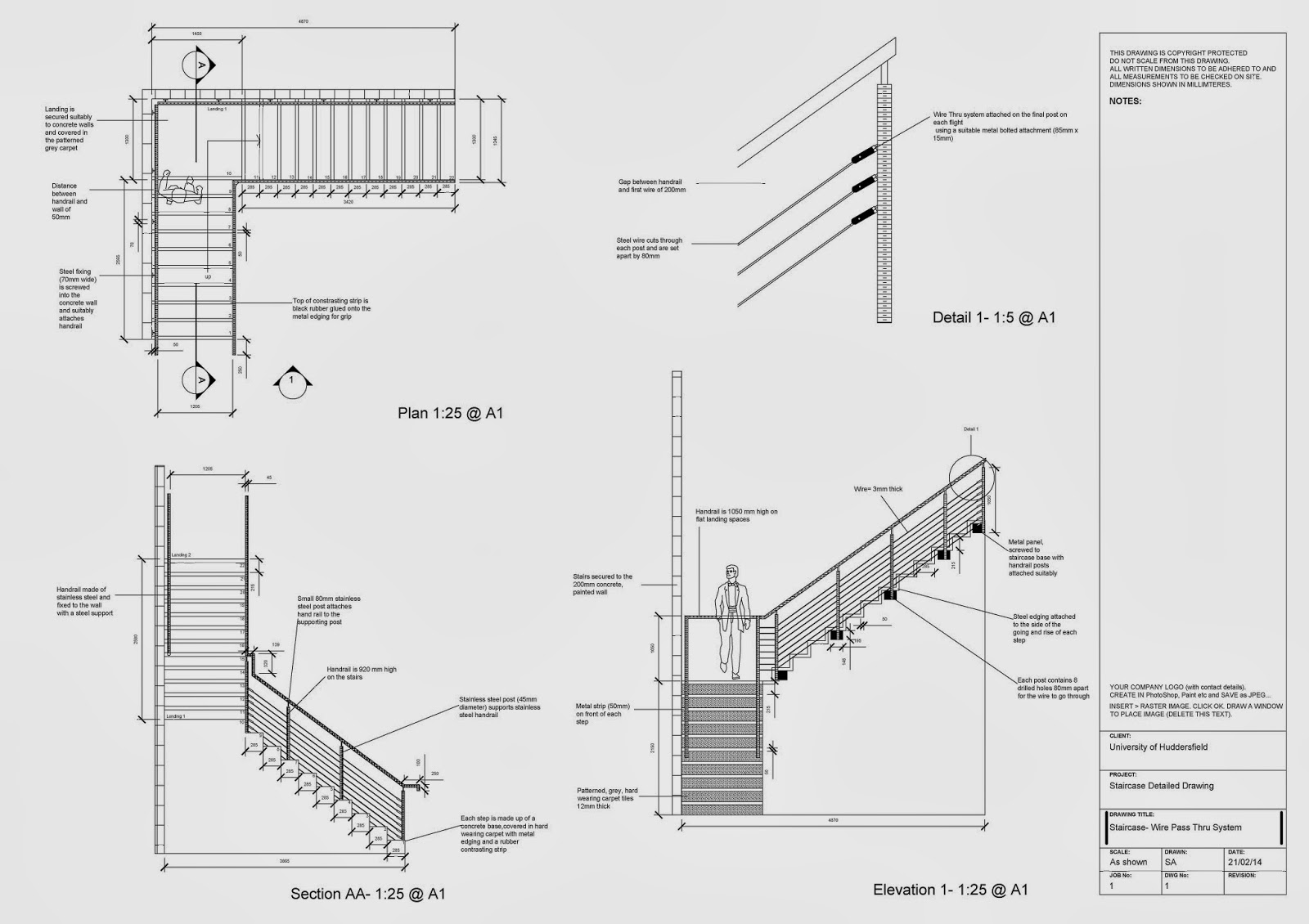 Uncategorized Staircase Detailing my work the image above shows final staircase detailing that i submitted also then chose to finish off lower section of in sketch up and