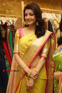 Actress Kajal Agarwal Stills in Golden Silk Saree at Trisha Sesigner Store Launch  0085.jpg