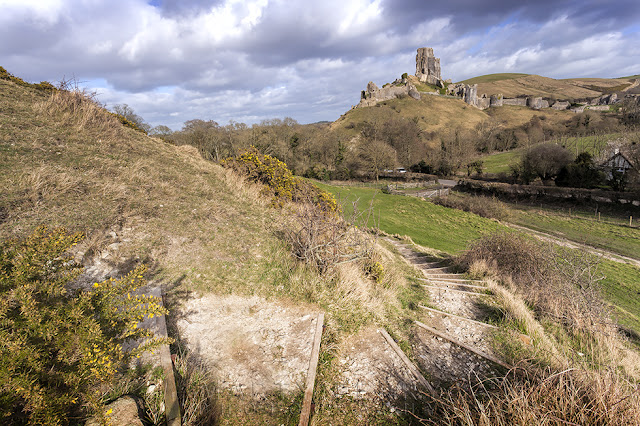 Ruins of Corfe Castle on the Isle of Purbeck in Dorset