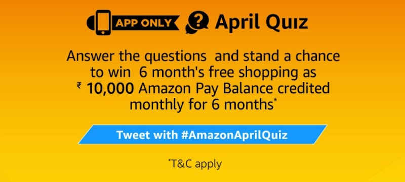 AmazonApril Quiz – Answer & Win6 Month Free Shopping