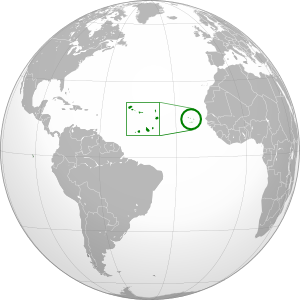 Location on the globe of Cape Verde, now known officially as Cabo Verde