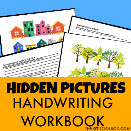 Hidden pictures visual perception handwriting workbook for helping kids address the skills needed in handwriting.