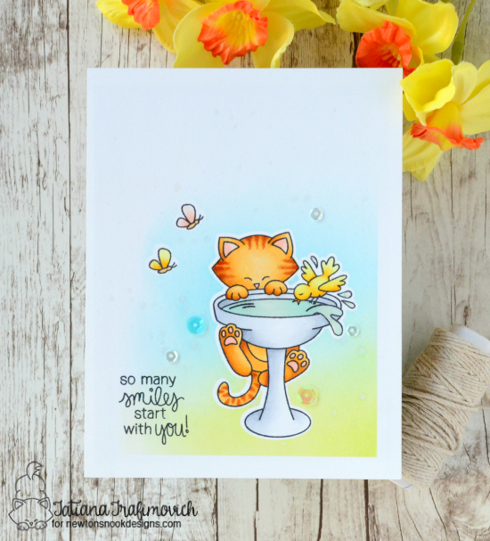 Cat on Birdbath Card by Tatiana Trafimovich | Newton's Birdbath Stamp set by Newton's Nook Designs #newtonsnook
