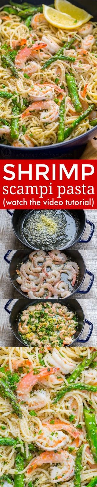 Shrimp Scampi Pasta with Asparagus