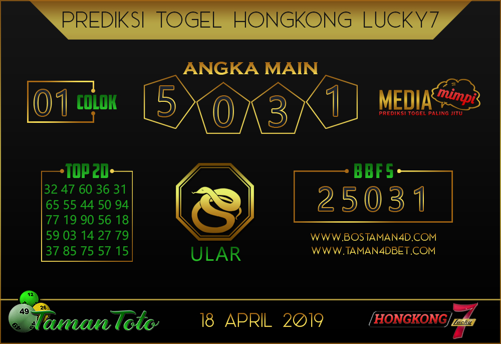 Prediksi Togel HONGKONG LUCKY 7 TAMAN TOTO 18 APRIL 2019