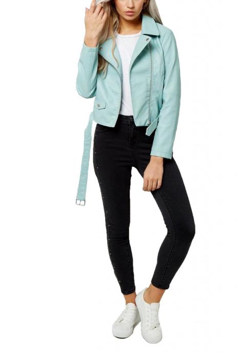 Jacheta din piele ecologica cu revere indoite