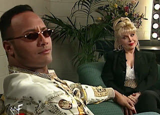 WWE / WWF - Wrestlemania 14 Review  -  Gennifer Flowers asks Dwayne 'The Rock' Johnson about running for US President