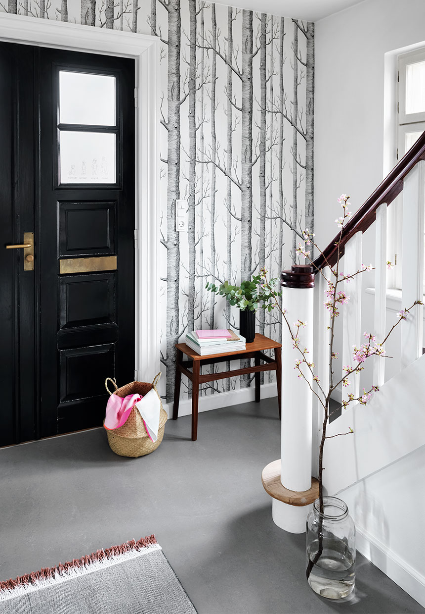 Scandinavian interior, tree wallpaper, nordic interior